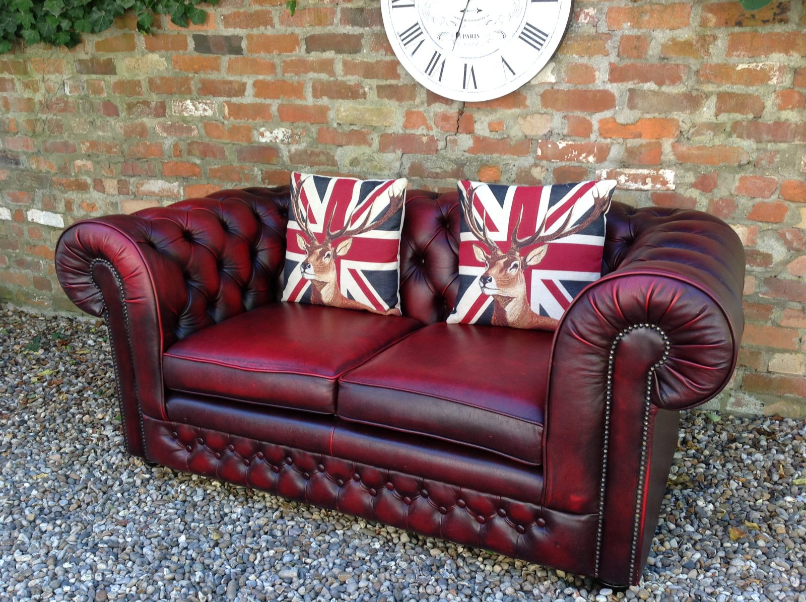 Oxblood Thomas Lloyd 2 Seater Chesterfield Sofa.