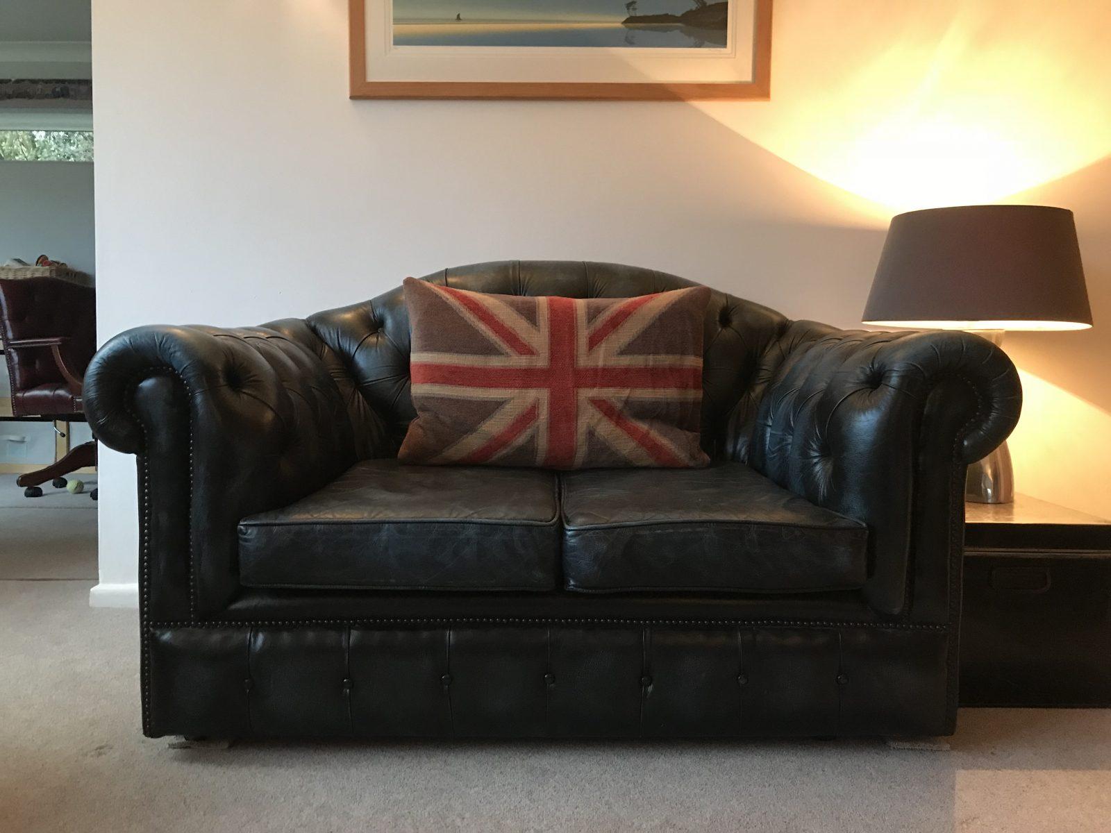 Petite Blue Camelback 2 Seater Chesterfield Sofa.