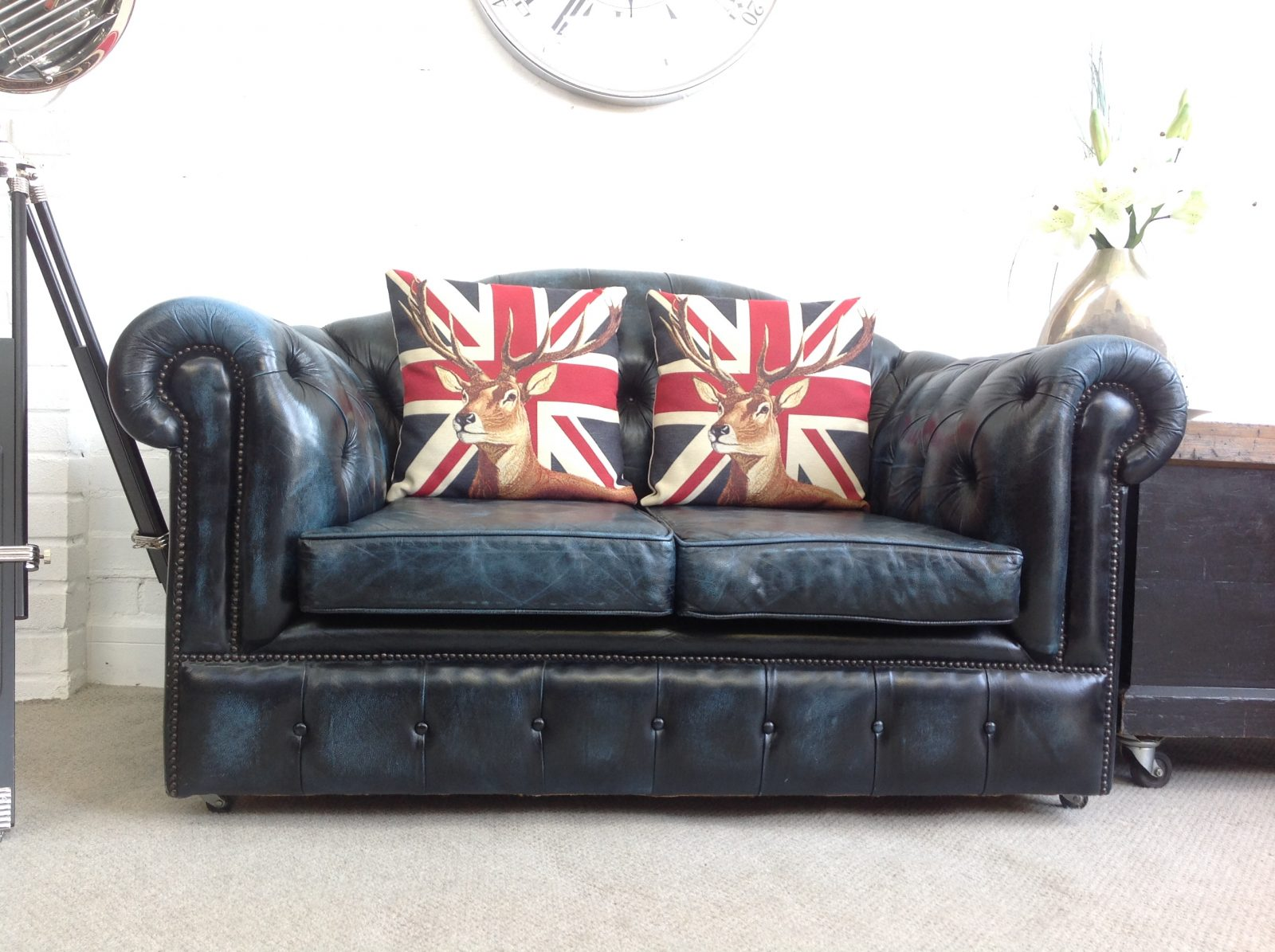 Petite Blue Camelback 2 Seater Chesterfield Sofa.