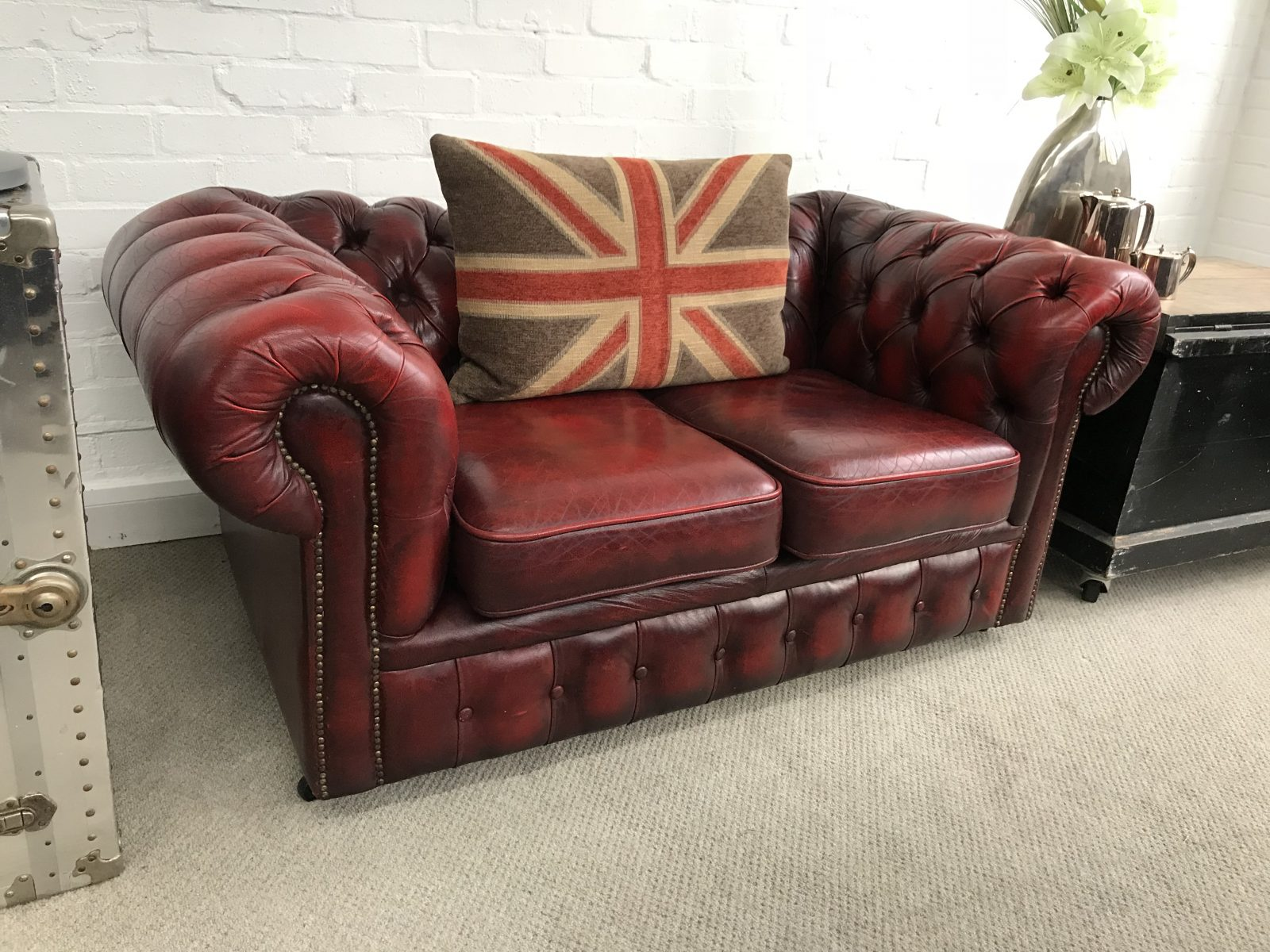 Oxblood 2 Seater Chesterfield Sofa Home