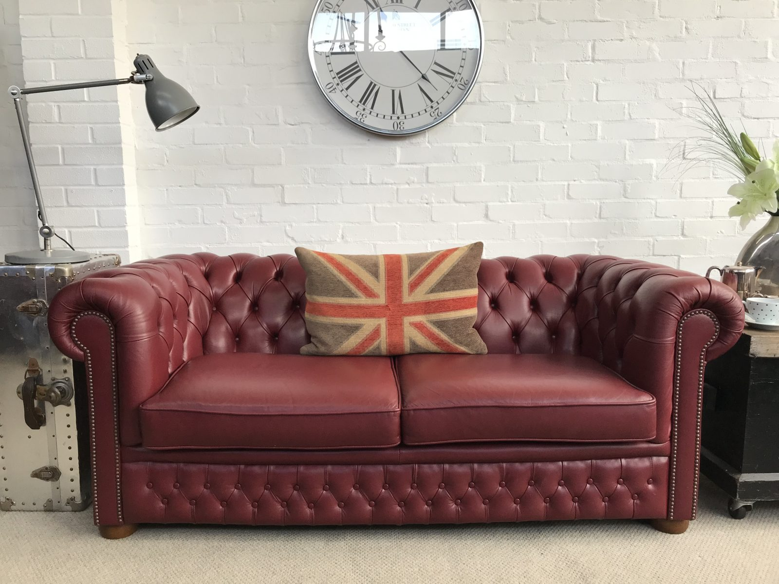 Stunning Burgundy 2/3 seater Chesterfield Sofa. – Chesterfields at ...