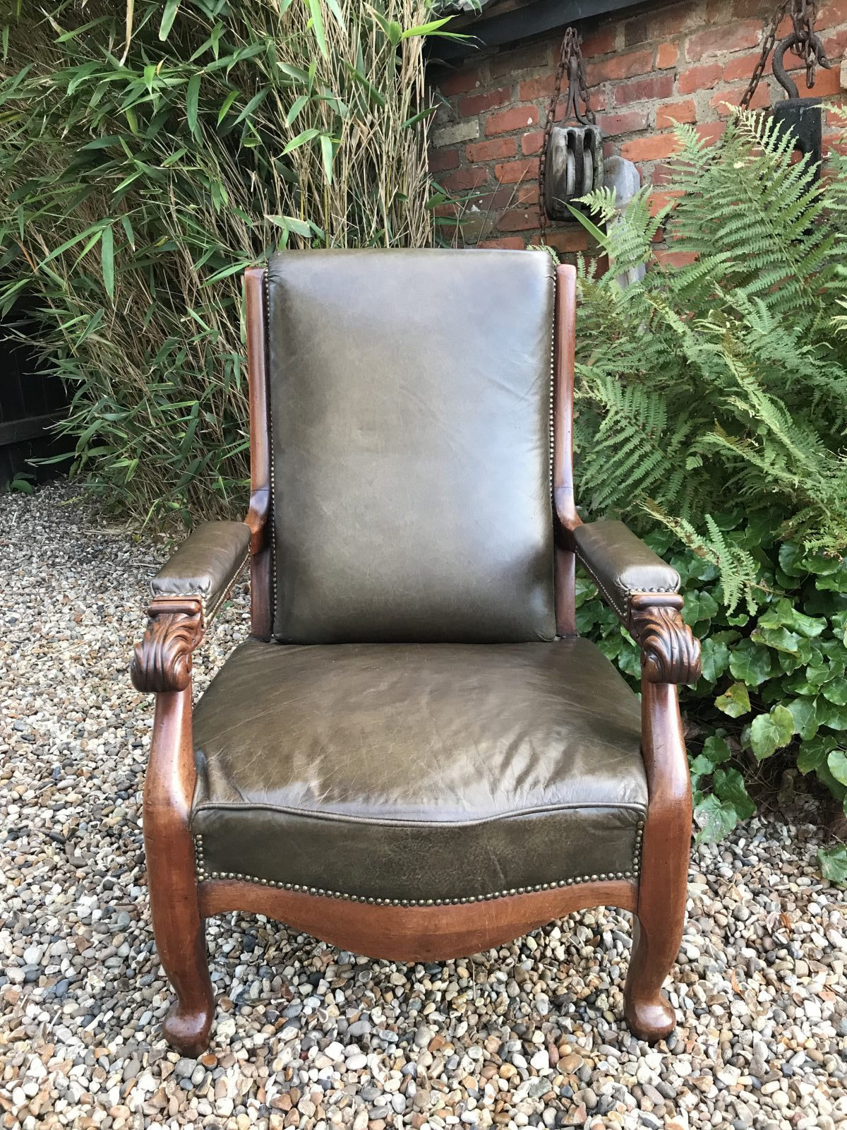 Rare Late 19th C. Reclining Library Chair.
