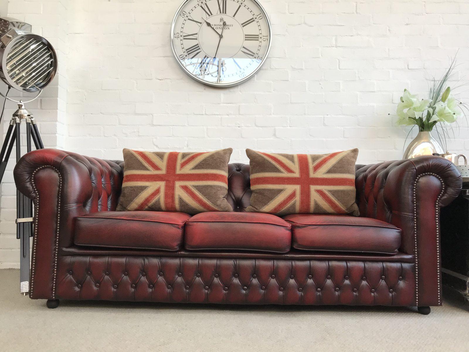 Oxblood Saxon Chesterfield Sofa.