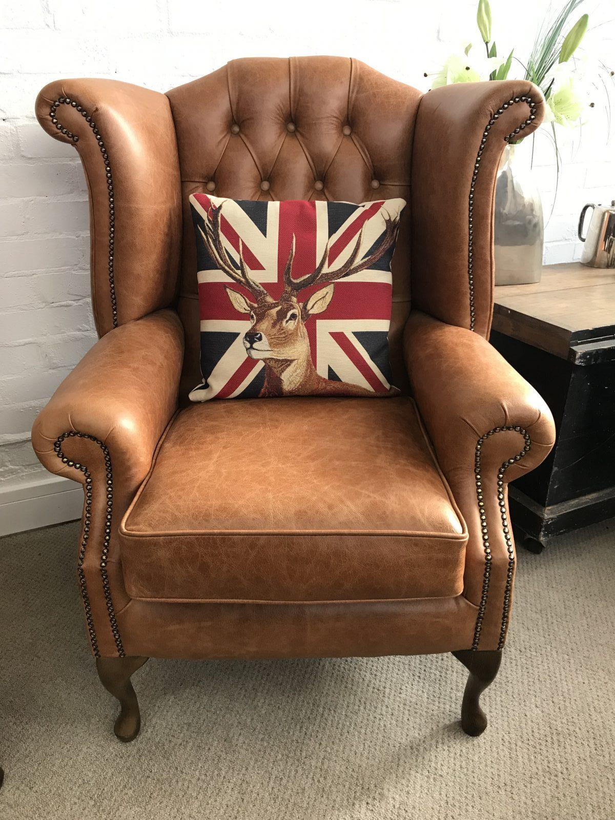 Stunning Tan Queen Anne Wingback Armchair.