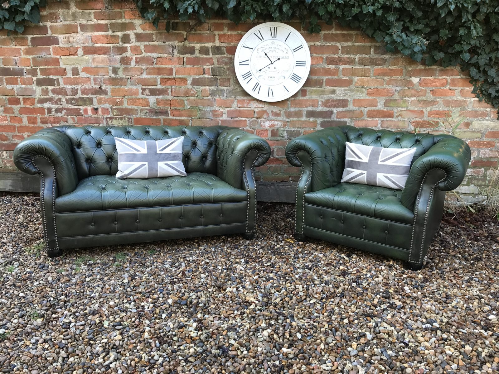 Vintage Ivy Green Button Base Chesterfield Sofa Set.