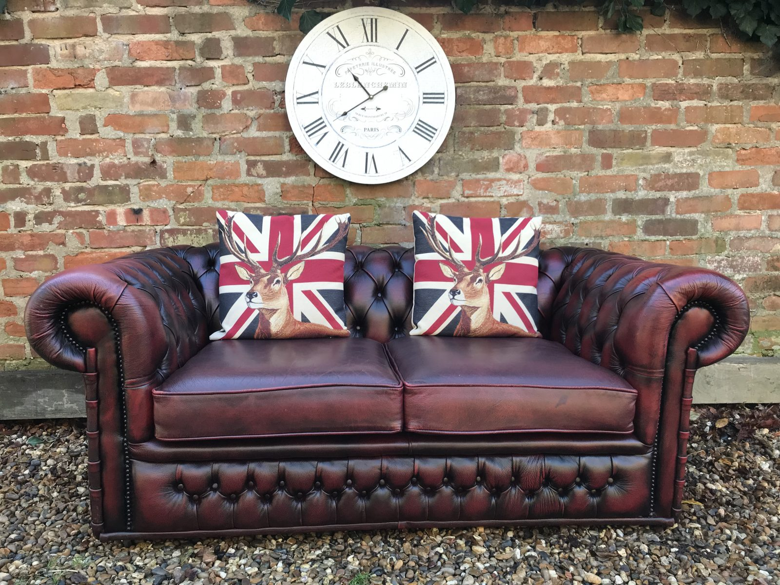 Oxblood Red 2 Seater Chesterfield Sofa.