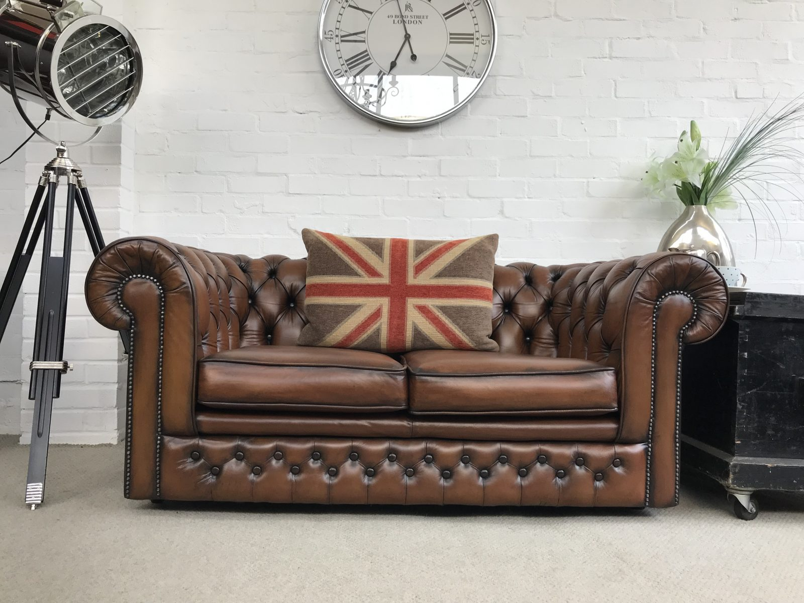 Whiskey Brown Thomas Lloyd Chesterfield Sofa.