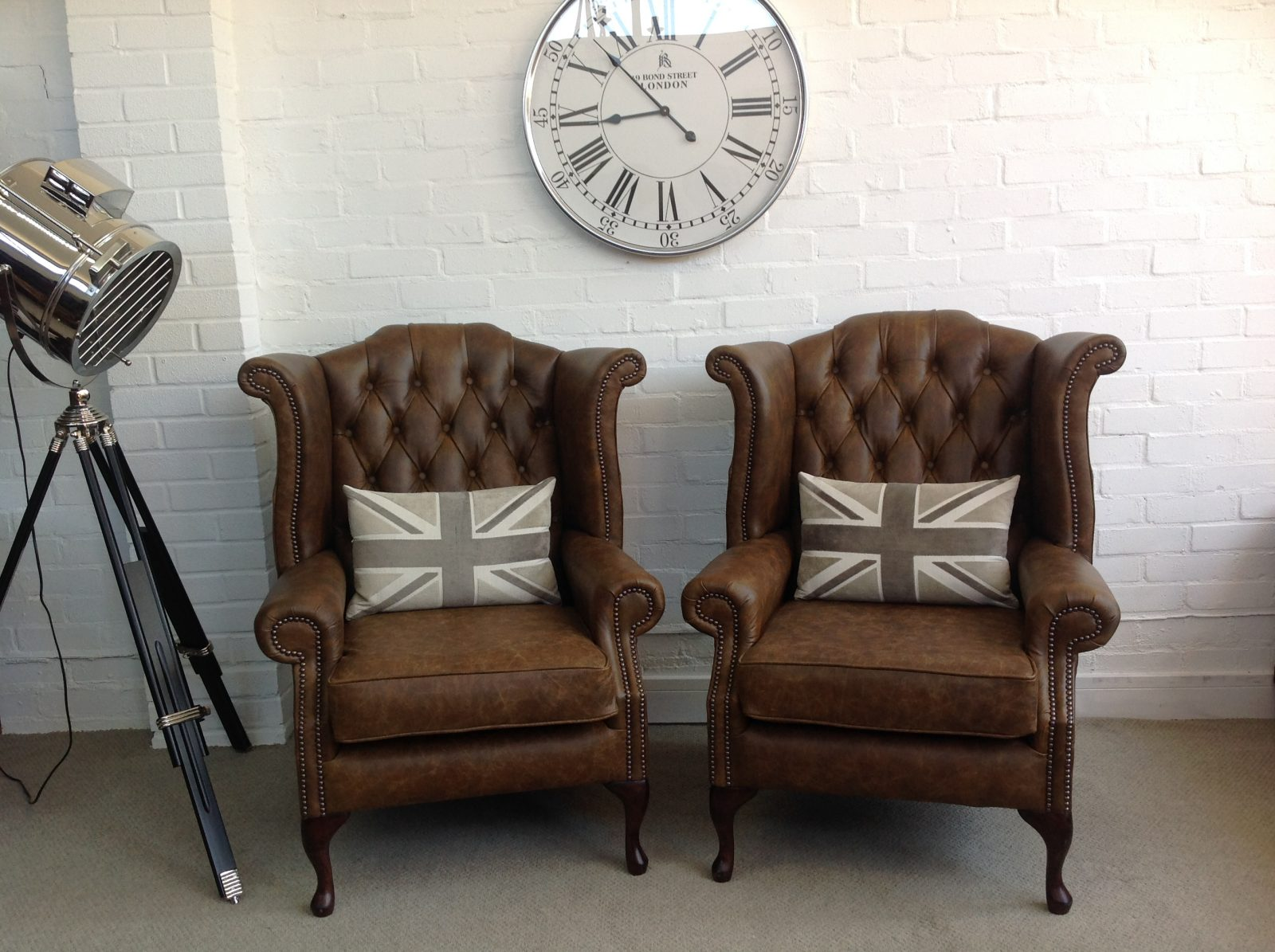 Matching Pair Of Tobacco Brown Queen Anne Armchairs