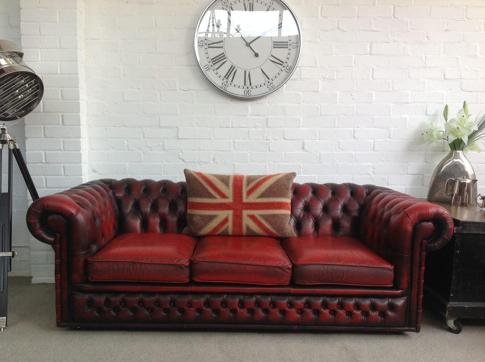 Vintage Oxblood Red Chesterfield Sofa.