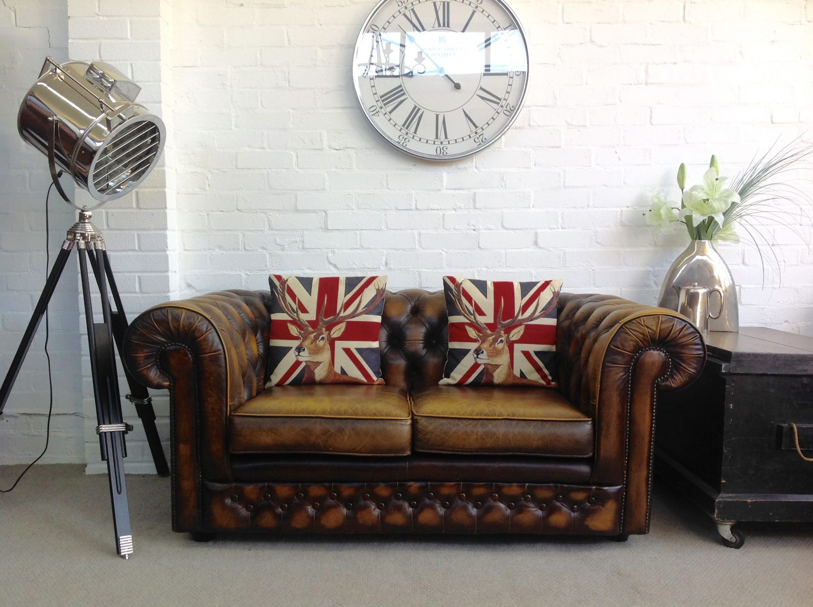 Golden Brown Thomas Lloyd Chesterfield Sofa.