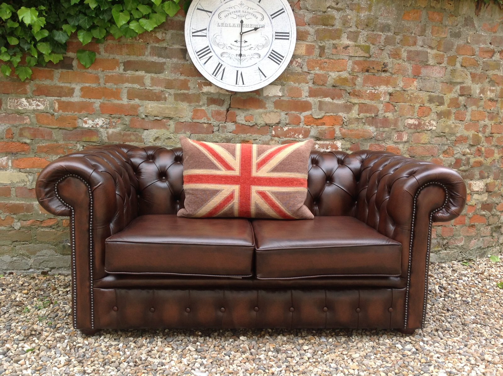 Rich Brown Chesterfield Sofa.