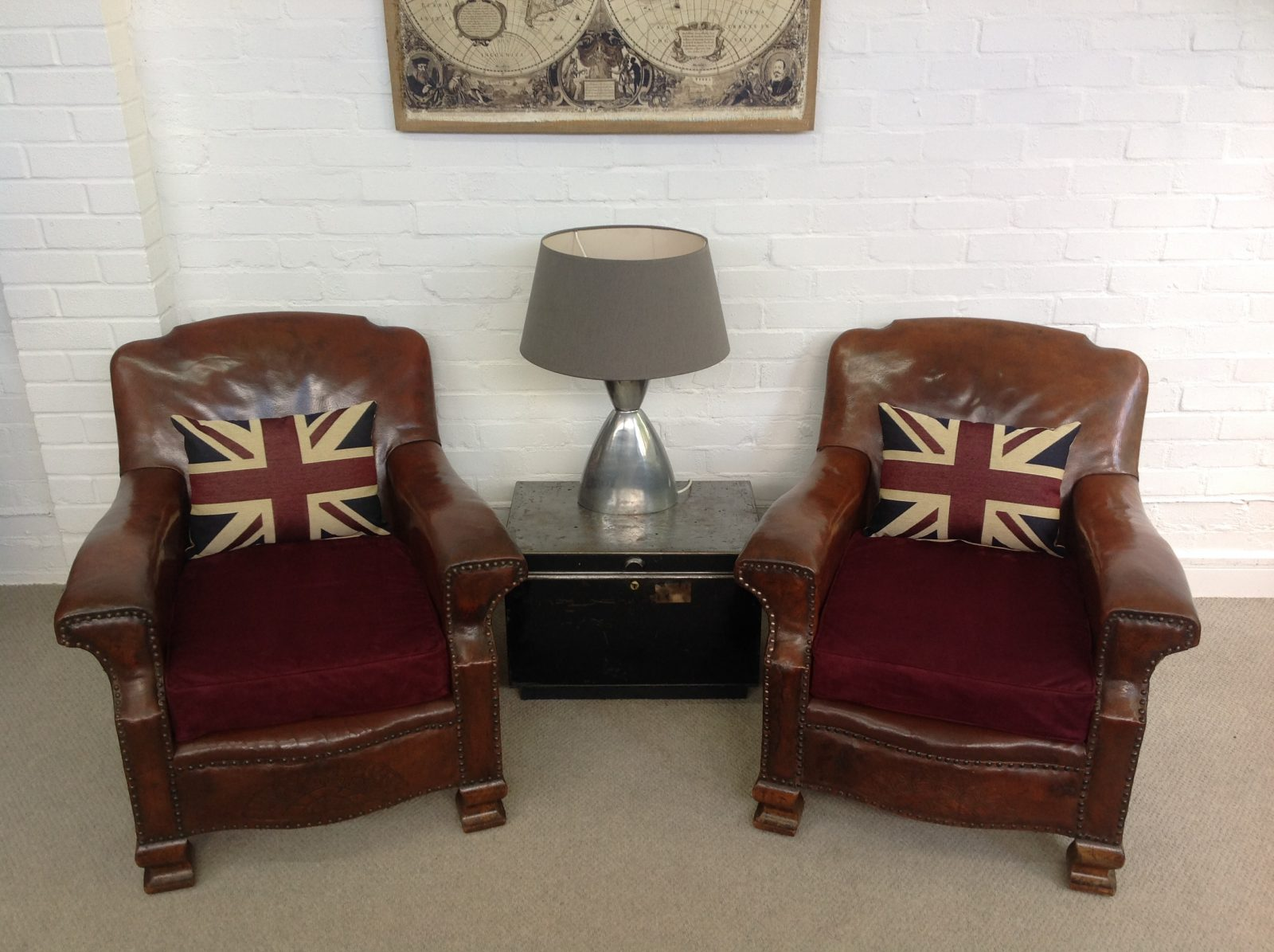 Matching Pair Of Rare 1920's Leather Fireside Armchairs.