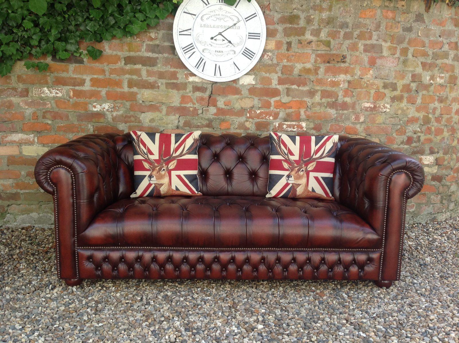 Antique Chestnut Saxon 3 Seater Chesterfield Sofa.