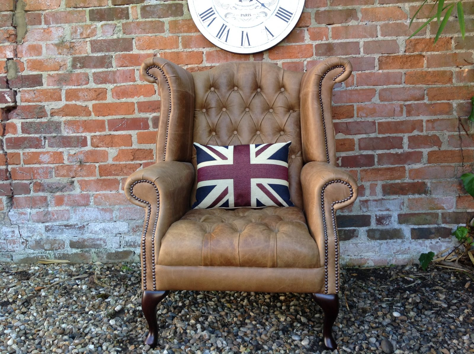 Fully Buttoned Queen Anne Armchair.(3 Available)