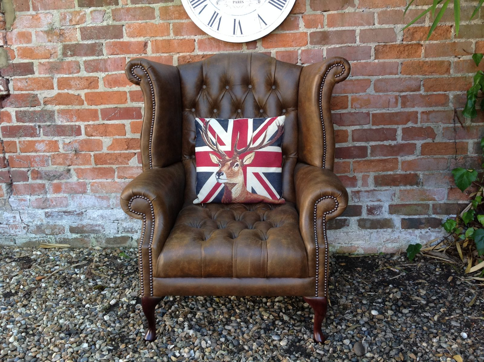 Saddle Tan Queen Anne Armchair ( One Of A Matching Pair)