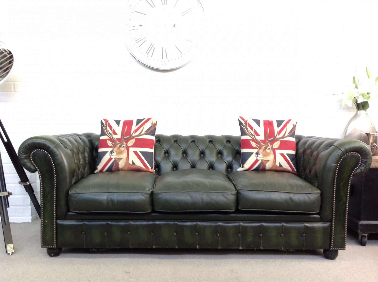 Forest Green Chesterfield Sofa Bed.
