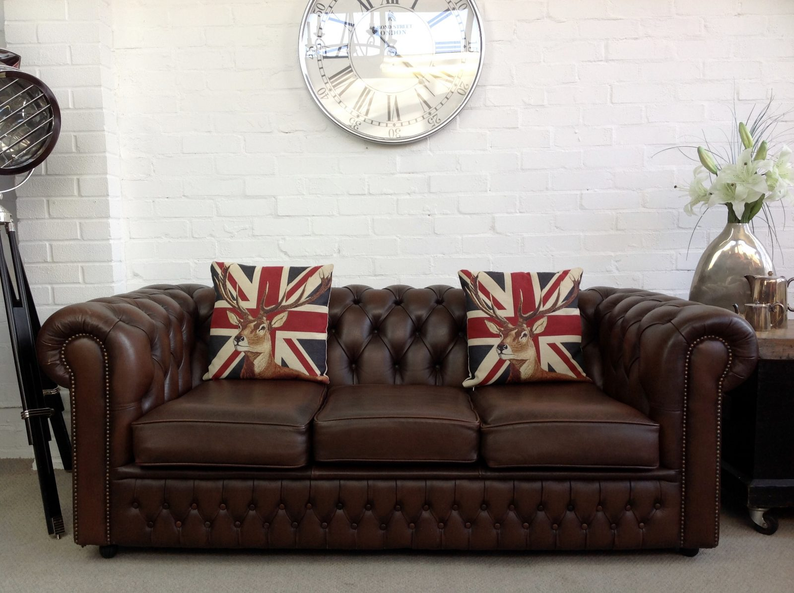 Brown Chesterfield Sofa.(Matching 2 Seater Available)