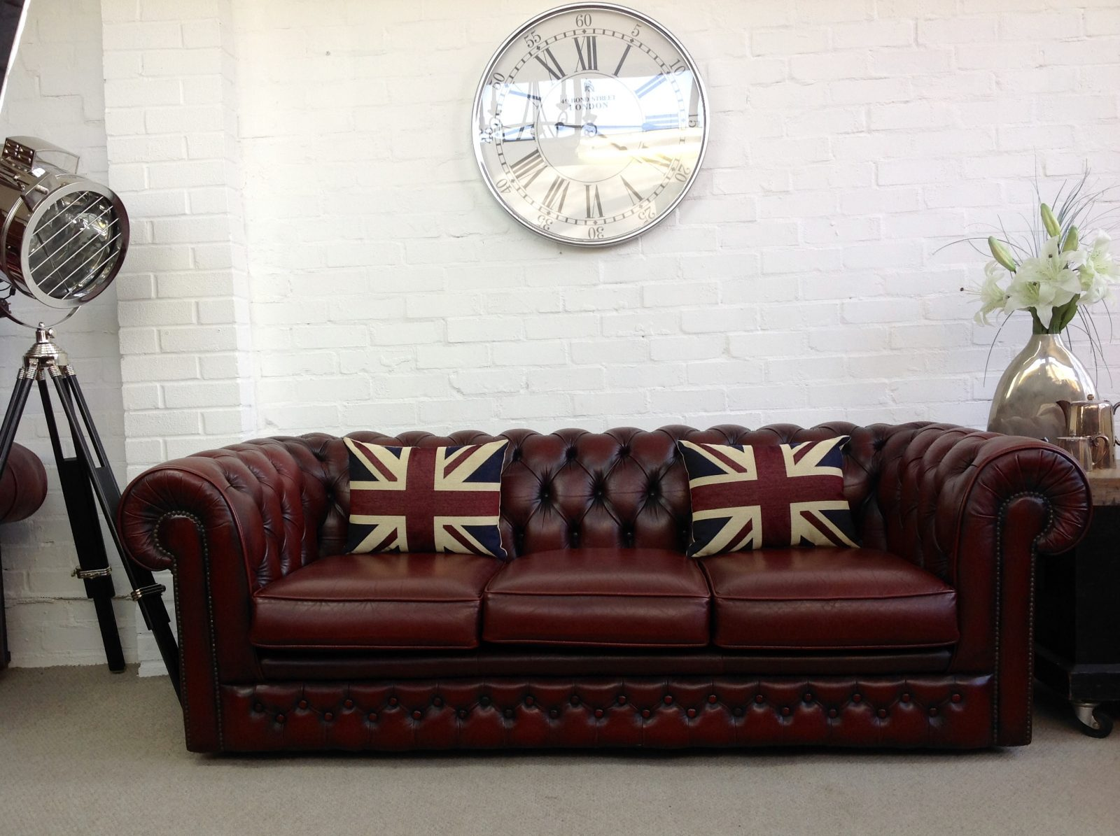 Thomas Lloyd Antique Red Chesterfield Sofa.