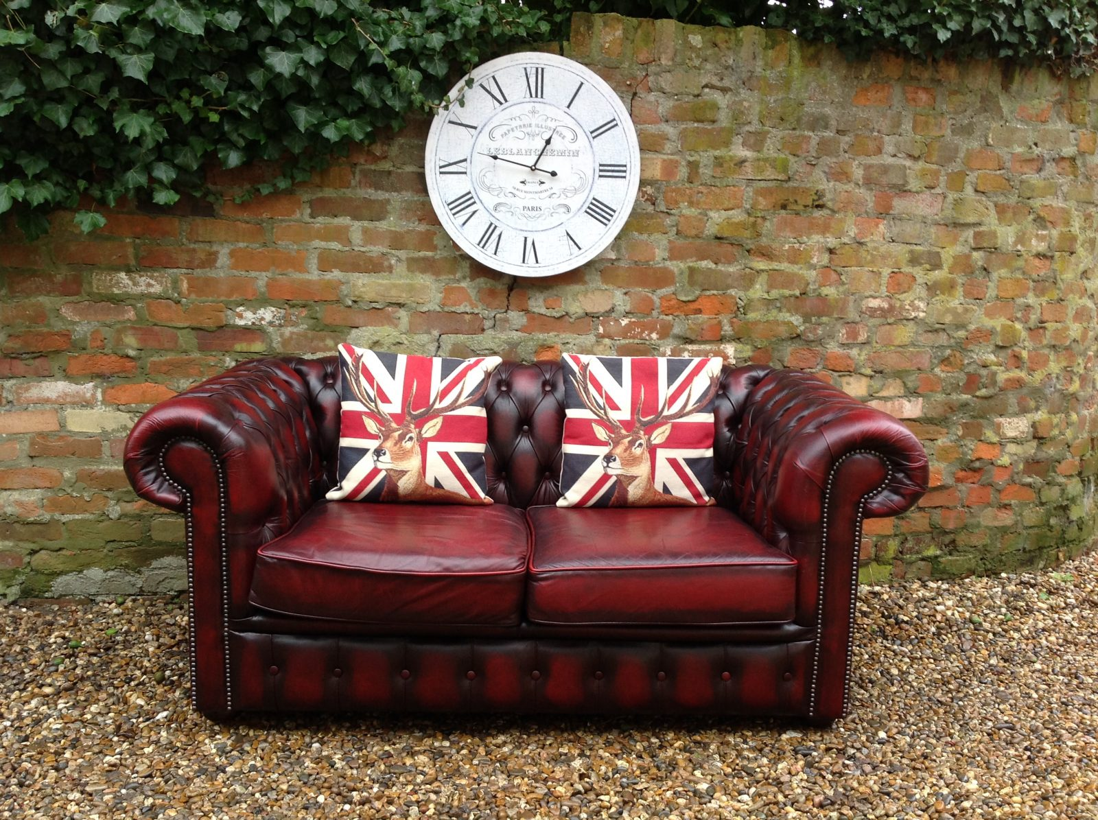 Classic Oxblood Red 2 Seater Chesterfield Sofa. ( Matching Large 2 Seater Available )
