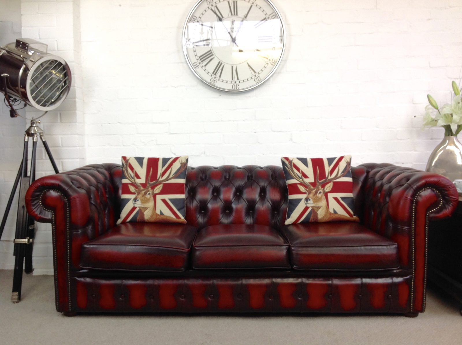 Oxblood 3 Seater Sofa Bed.