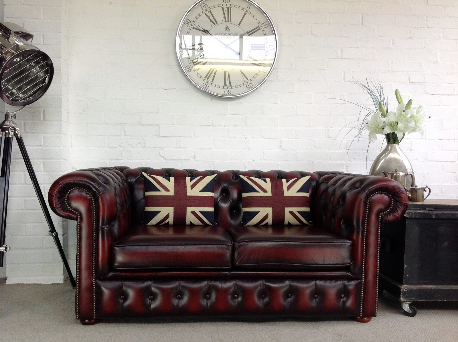 Oxblood 2 Seater Chesterfield Sofa.