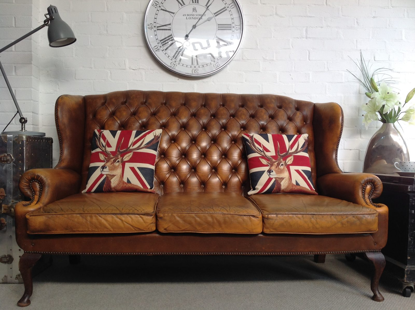 Vintage Golden Tan Queen Anne 3 Seater Chesterfield Sofa