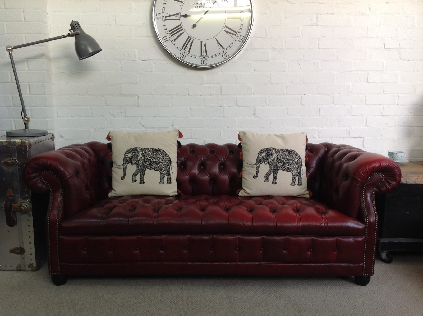 Stunning Oxblood Button Base 3 Seater Chesterfield Sofa