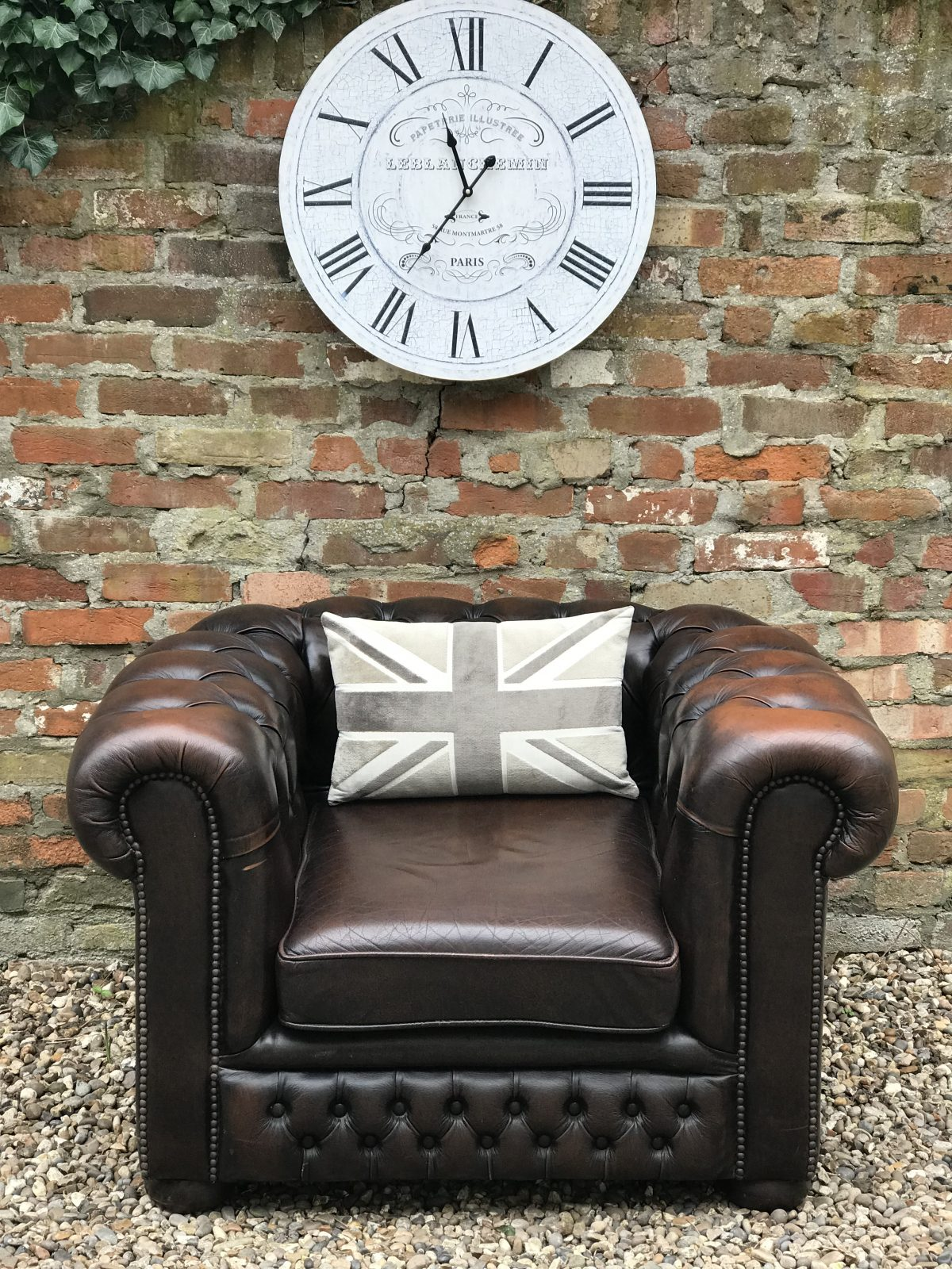 Vintage Brown Chesterfield Armchair.