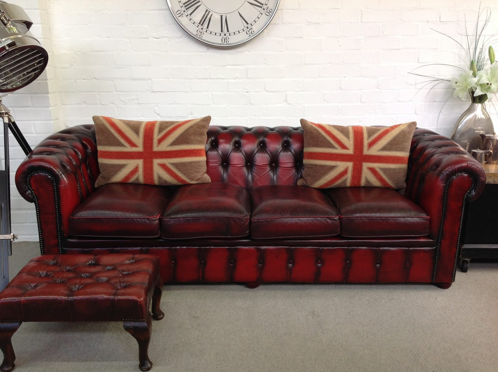Oxblood 4 Seater Chesterfield Sofa.