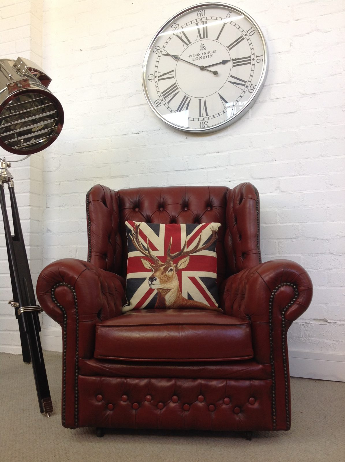 Antique Red Wingback Armchair.( Matching 3 Seater Sofa Available)