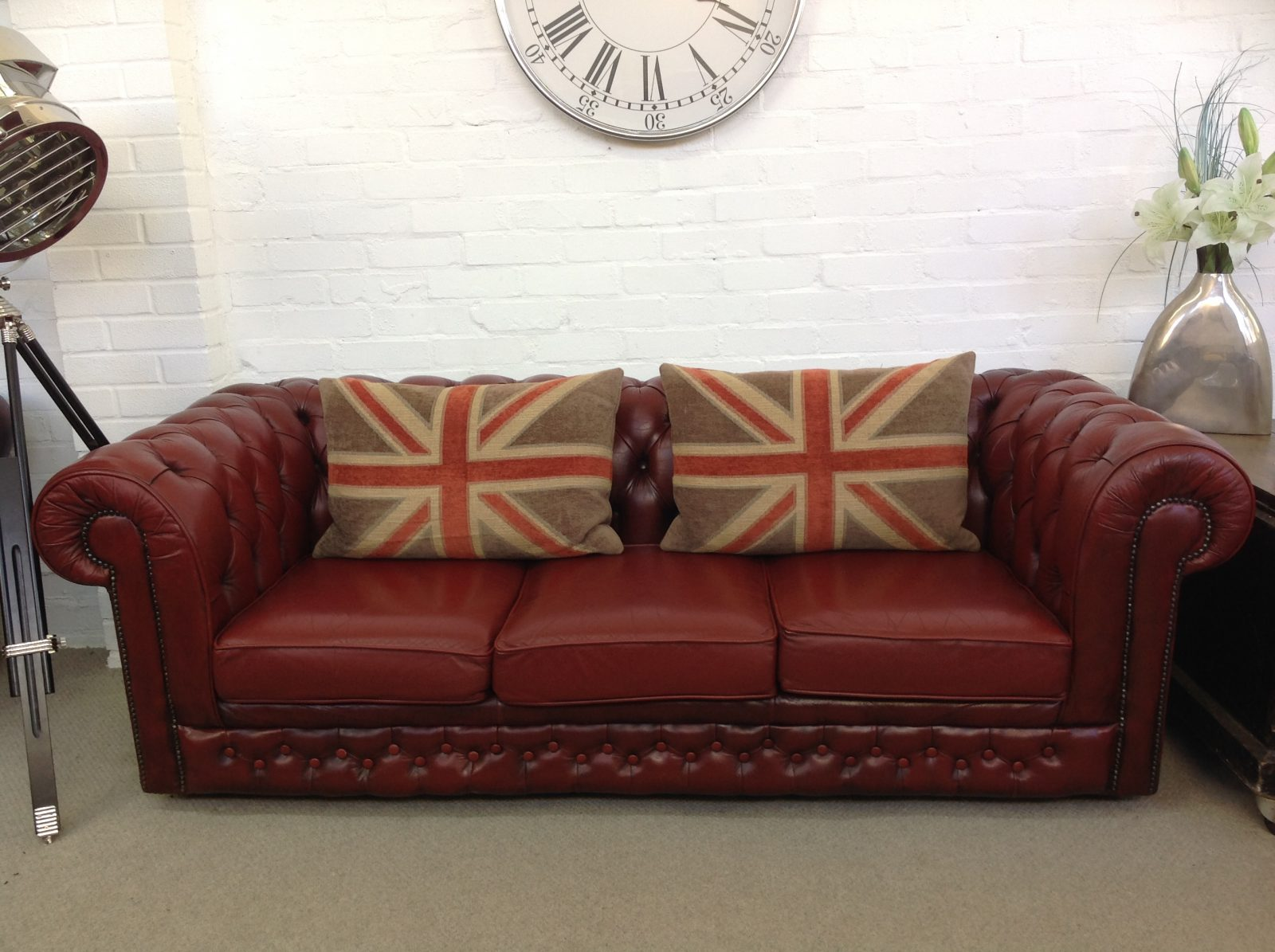 Antique Red 3 Seater Chesterfield Sofa.( Matching Wingback Armchair Available )