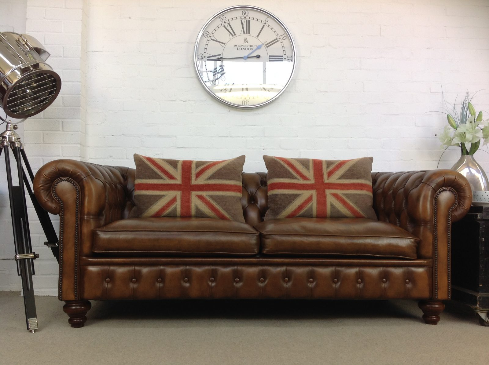 Antique Tobacco Brown 3 Seater Chesterfield Sofa.