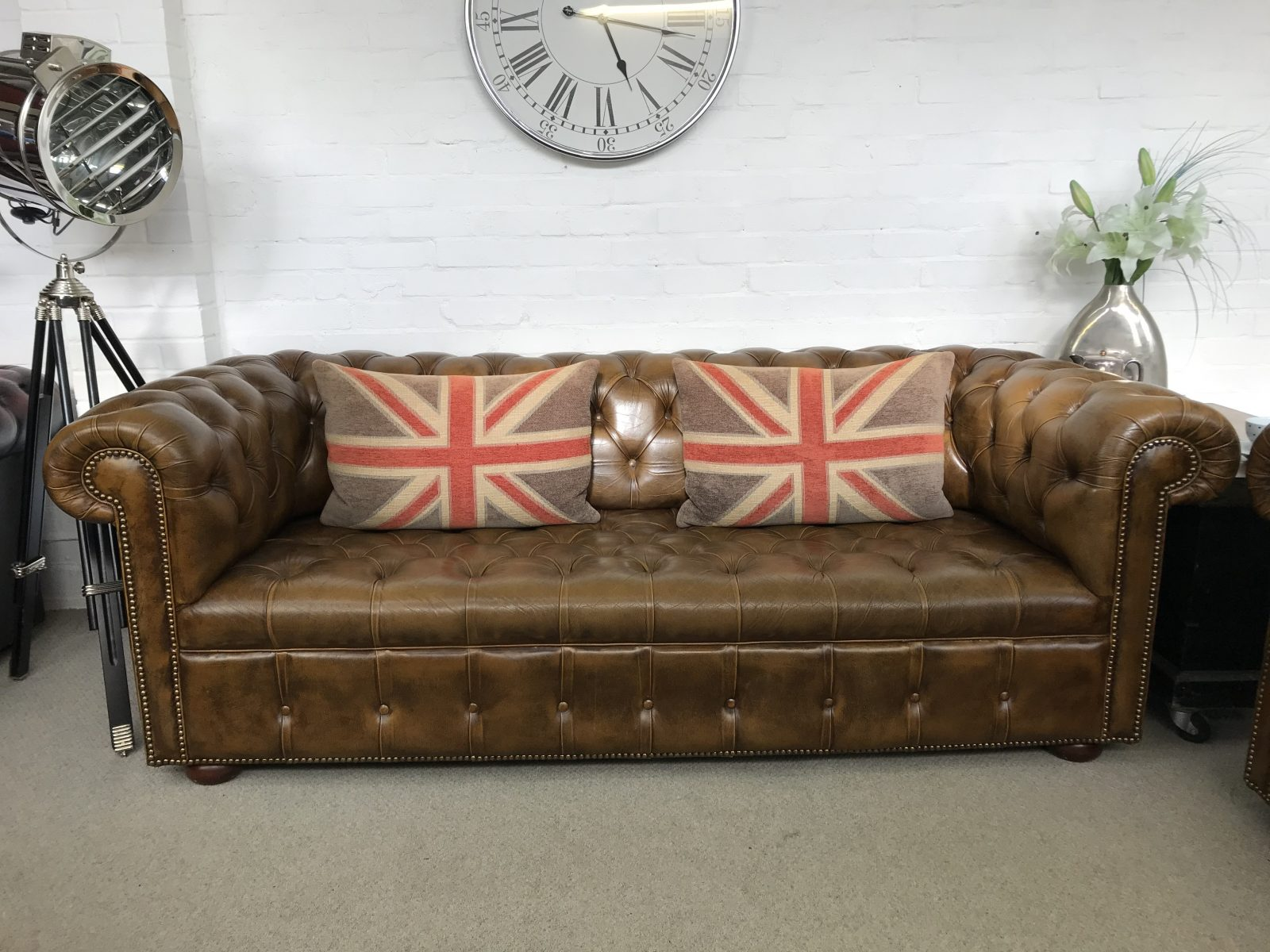 Stunning Golden Tan 3 Seater Chesterfield Sofa.( Matching 2 Seater Available)
