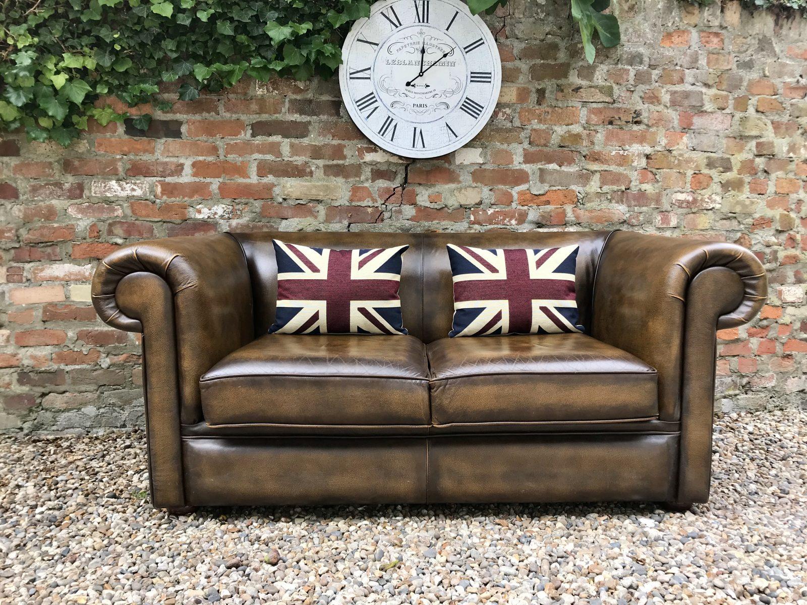Stunning Antique Golden Brown Chesterfield Sofa.