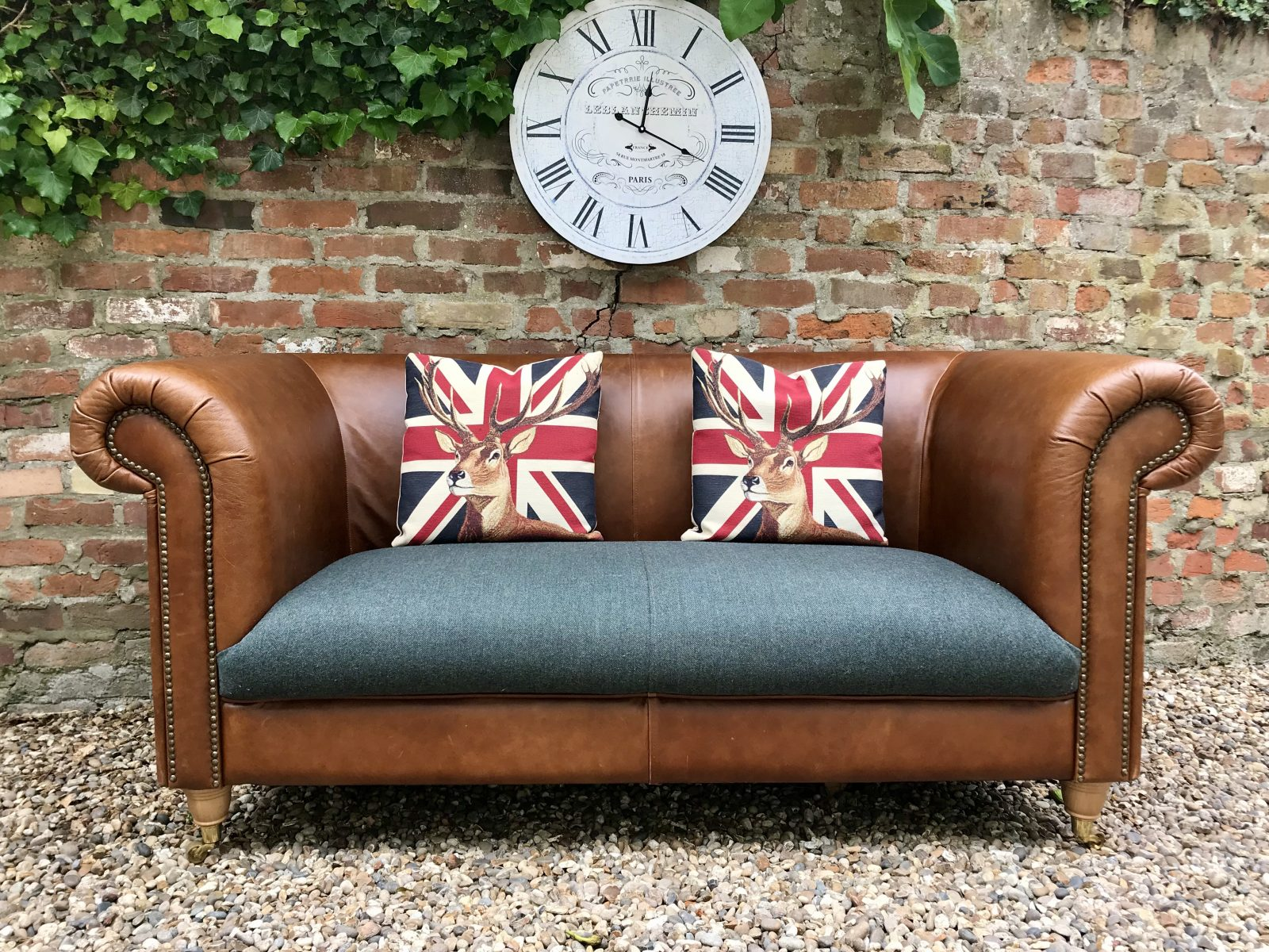 Stunning Tan Leather And Tweed Chesterfield Sofa.