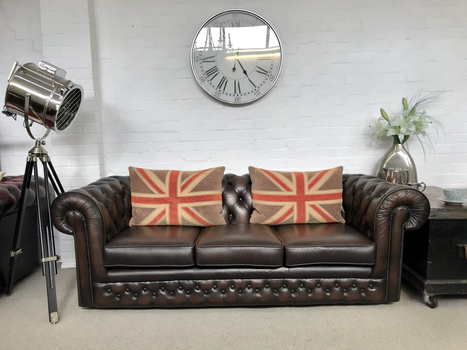 Dark Brown Thomas Lloyd Chesterfield Sofa.