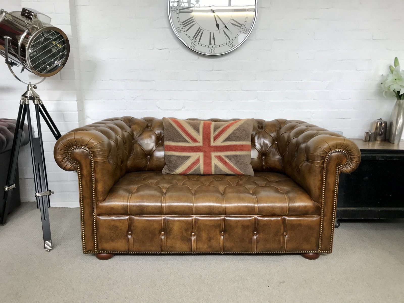 Stunning Golden Tan 2 Seater Chesterfield Sofa.( Matching 3 Seater Available)