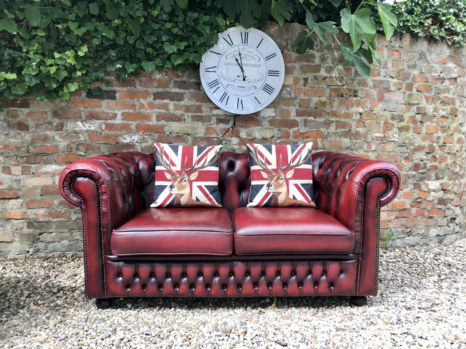 Oxblood 2 Seater Chesterfield Sofa. ( Matching Club Armchair Available )