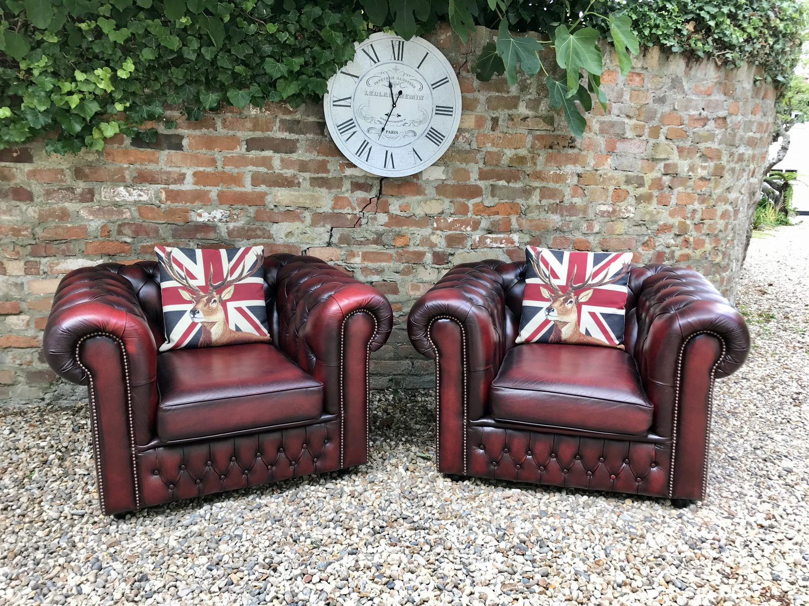 Saxon Oxblood Club Armchairs. ( Matching 3 Seater Available )