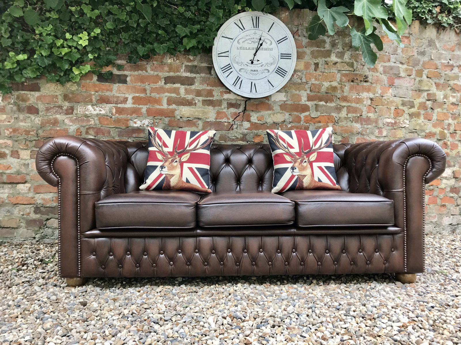 Brown Saxon Chesterfield Sofa. ( Matching Queen Anne And Club Armchairs Available )