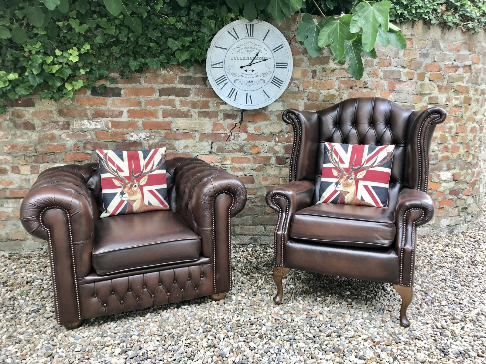 Brown Saxon Queen Anne And Club Armchairs. (Matching 3 Seater Sofa Available )
