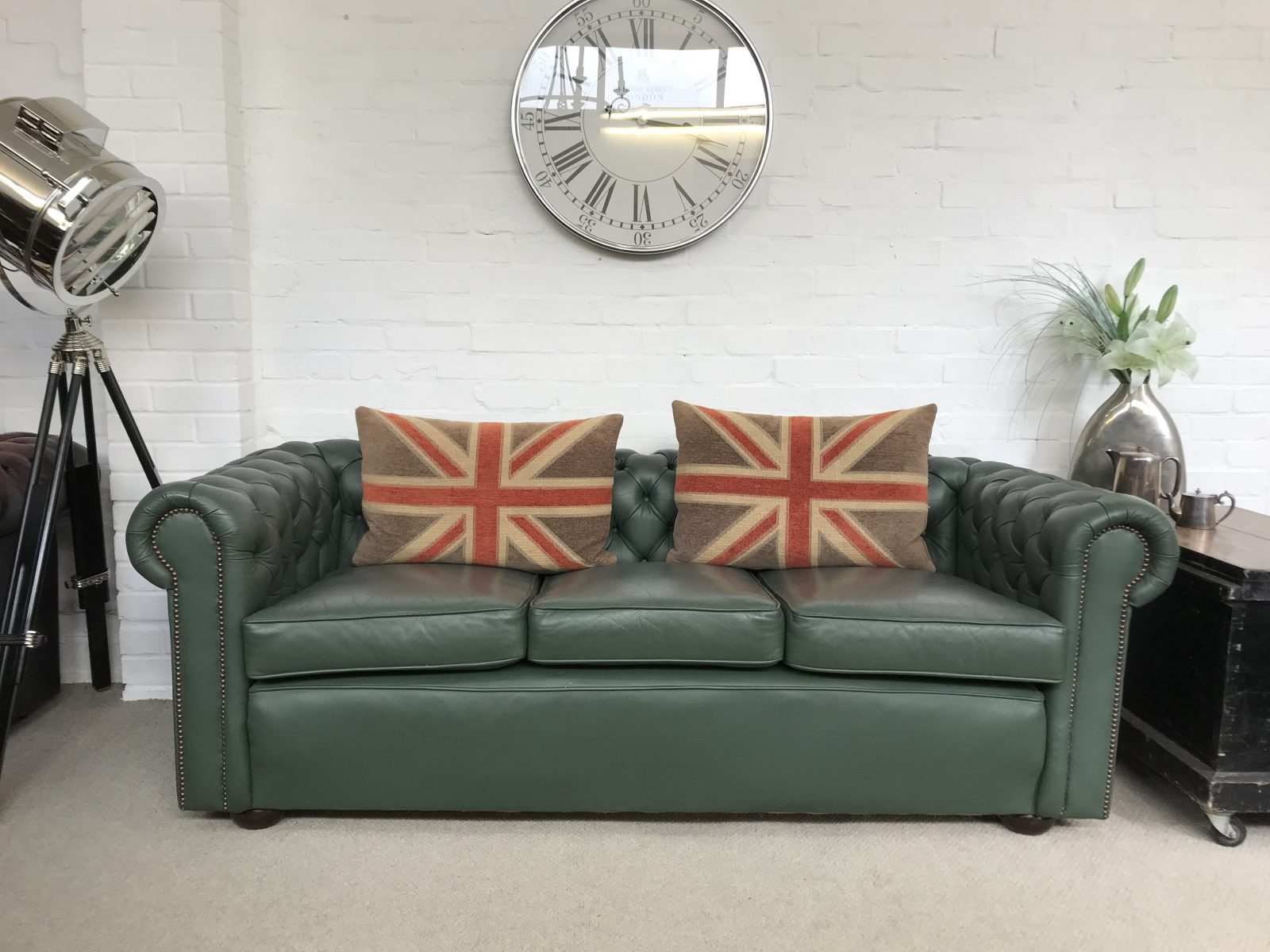 1970's Vintage Sage Green Chesterfield Sofa.