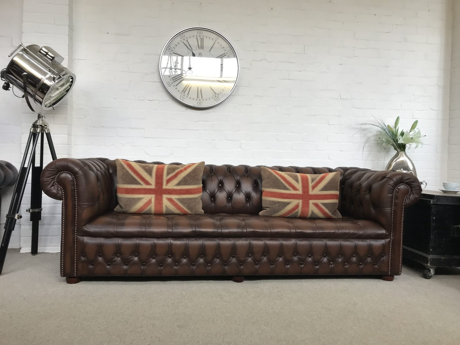 Superb 4 Seater Antique Chestnut Brown Chesterfield Sofa.