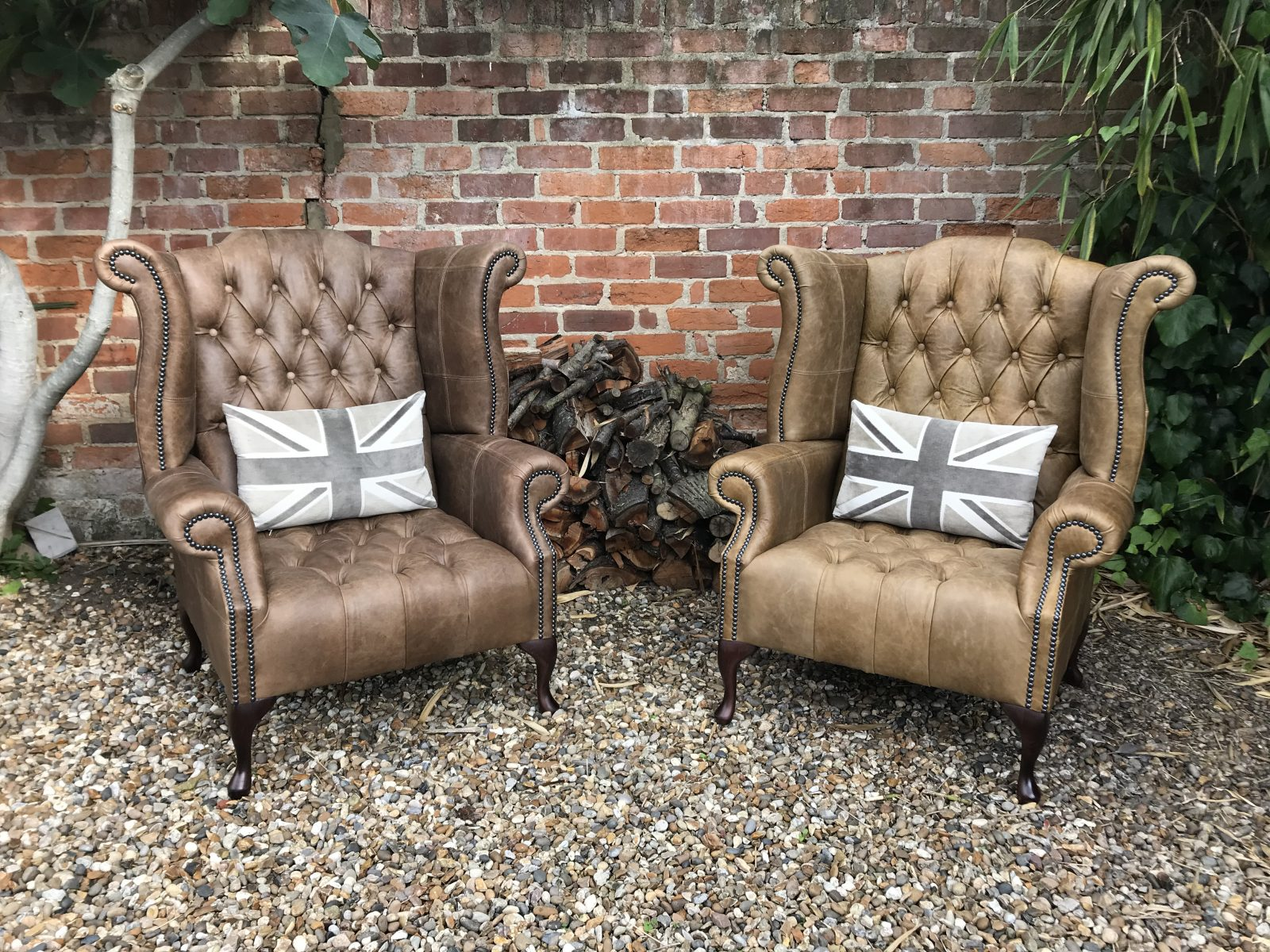 Queen Anne Wingback Chairs.