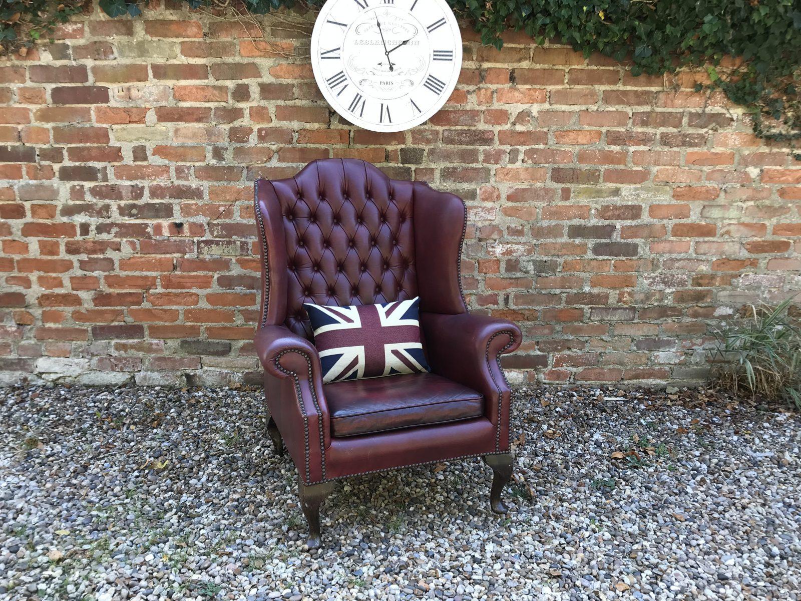 Vintage Antique Red Queen Anne Armchair.