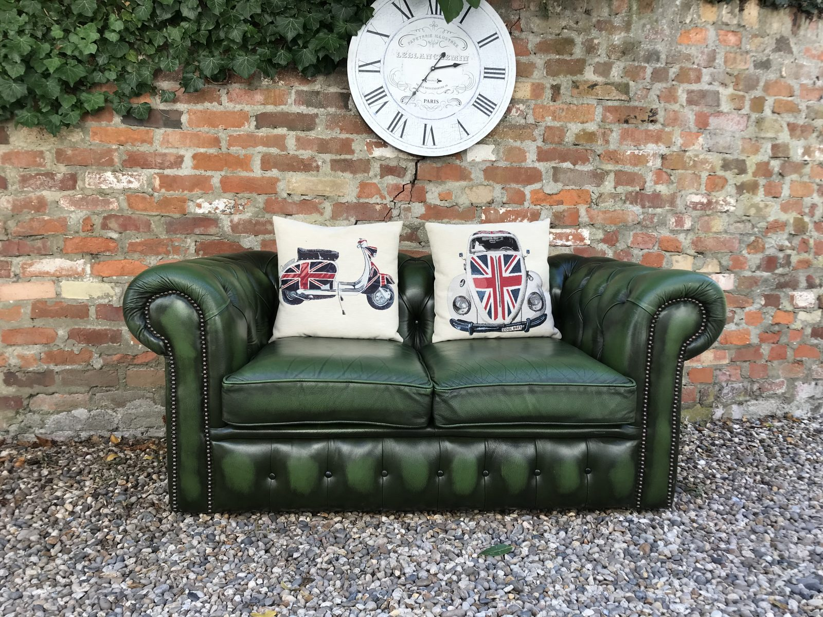 Hunter Green Chesterfield Sofa.