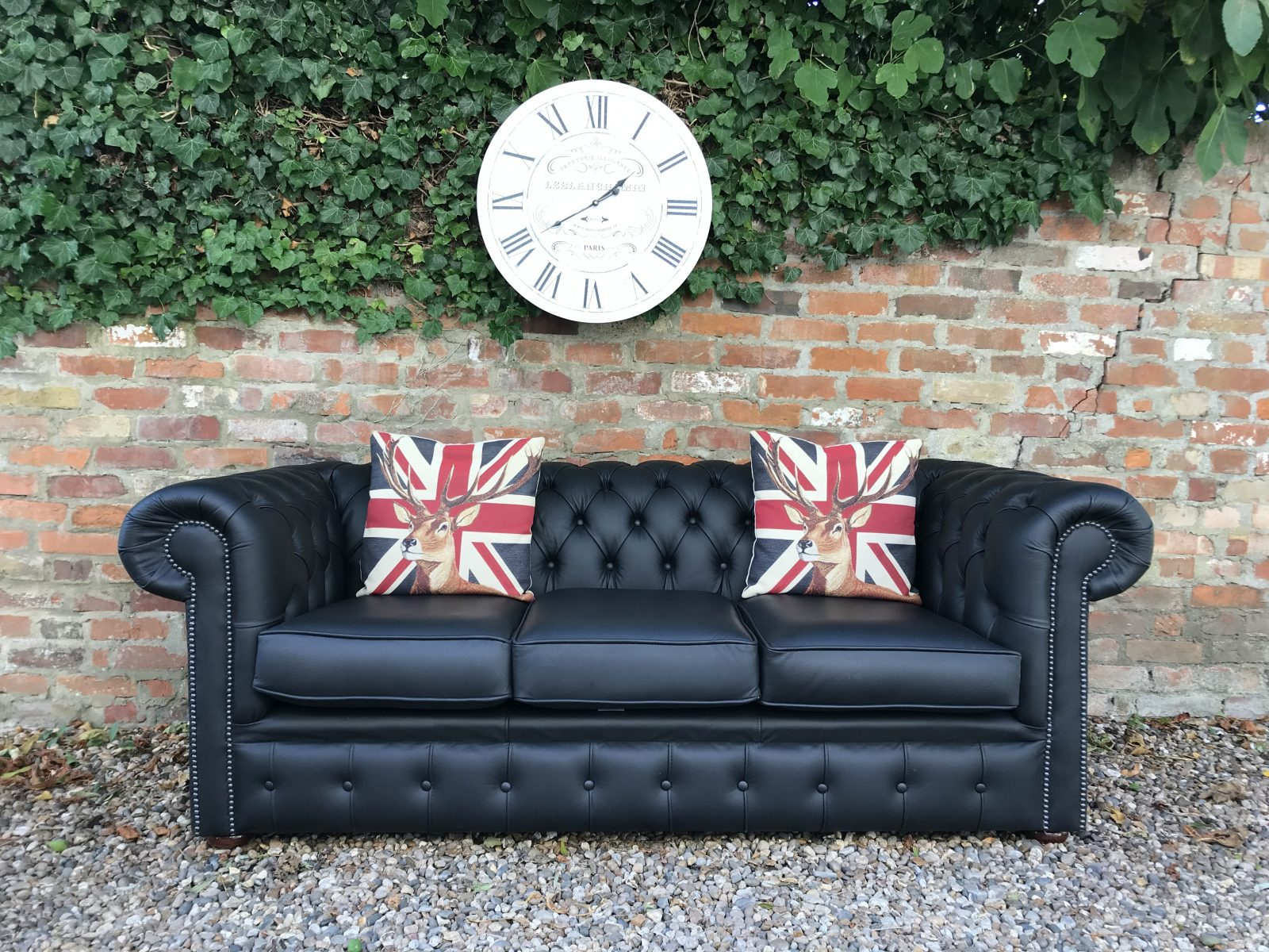 Midnight Black Chesterfield Sofa. ( One Of A Matching Pair )