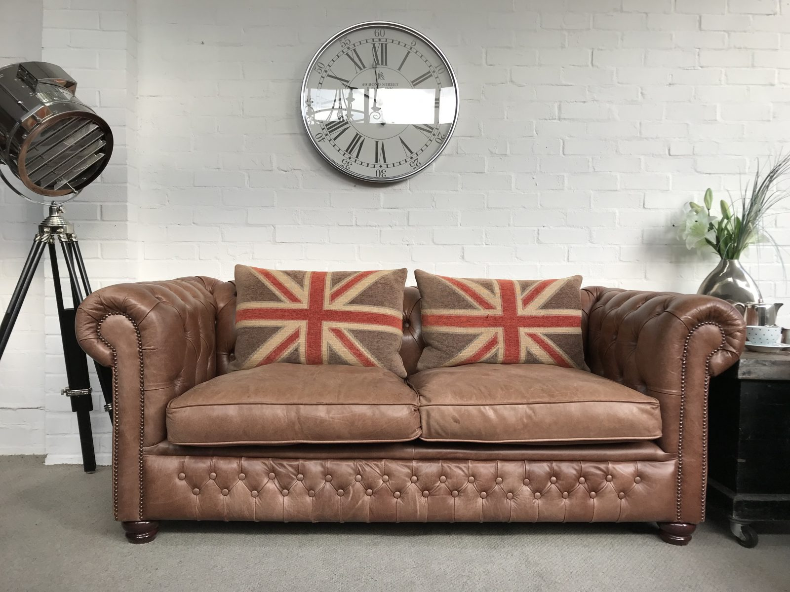 Tan 3 Seater Chesterfield Sofa.