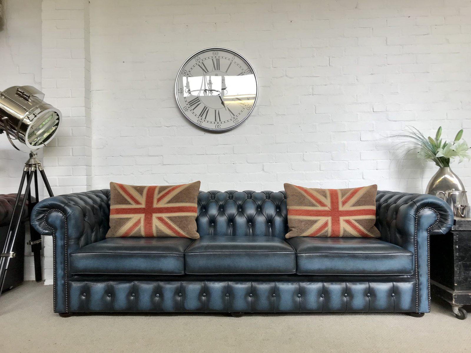 Stunning Sapphire Blue 4 Seater Chesterfield Sofa.