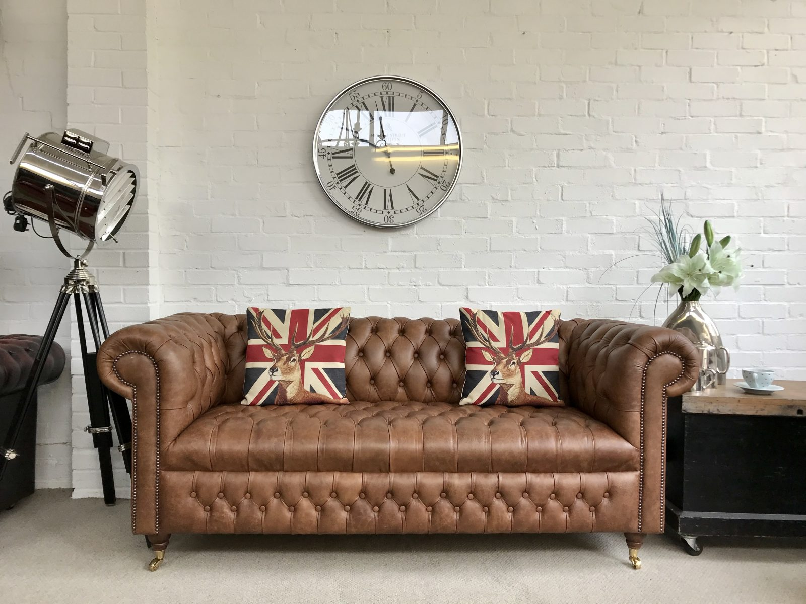 Saddle Tan Chesterfield Sofa. ( Matching 2 Seater Available )